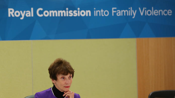 Commissioner Marcia Neave gives her opening remarks at the Royal Commission into Family Violence being held in Melbourne, Monday, July 13, 2015. (AAP Image/David Crosling)