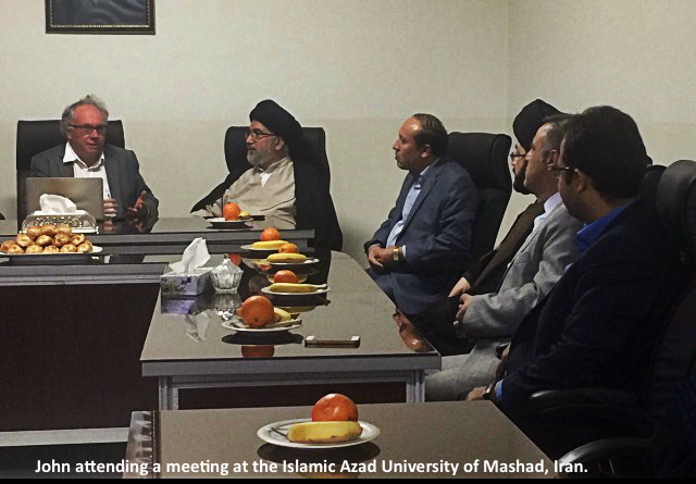 John at a meeting at Islamic Azad University of Mashhad, Iran.